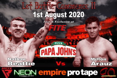 Beattie Vs Arauz Headlines Let Battle Commence II in Aberdeen this Saturday Exclusively Live on FITE TV.