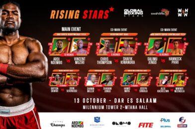 Ndembo Versus Muziri ABU Title Fight Headlines Rising Stars, A Global TV Event, Live Today.